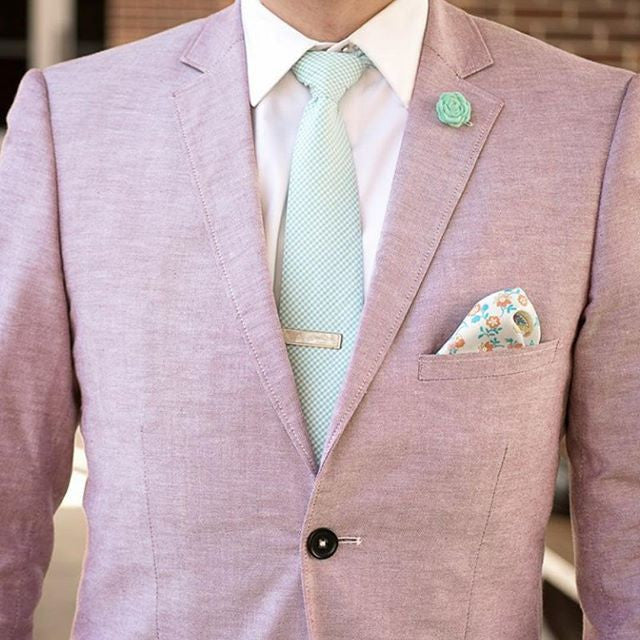 Cream & Light Blue Silk Pocket Square