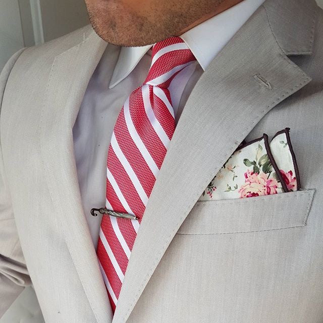 Coral and Silver Striped Silk Tie