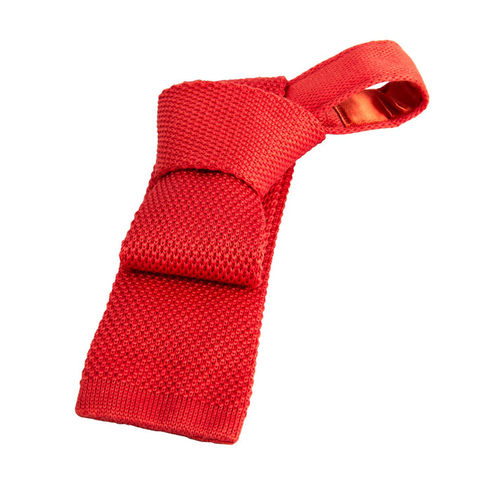 Coral Wool Silk Blend Knit Tie