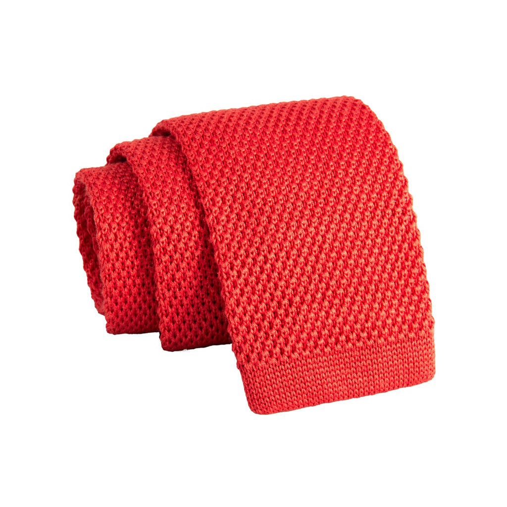 Coral Wool Silk Blend Knitted Tie