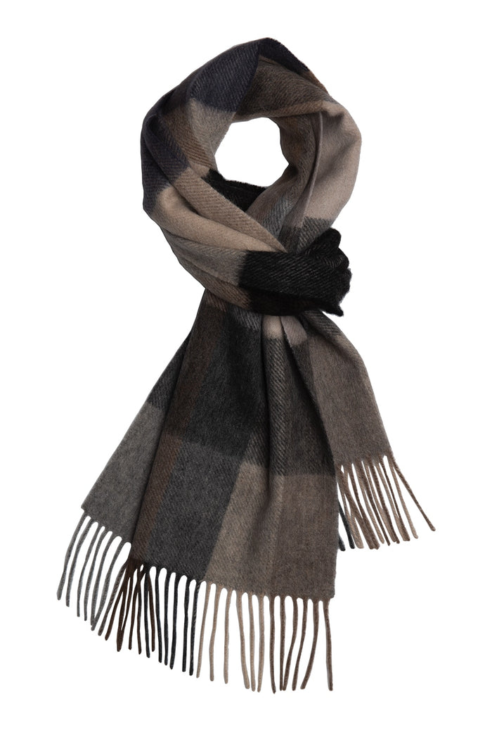 Men's Grey & Brown Plaid Wool Scarf