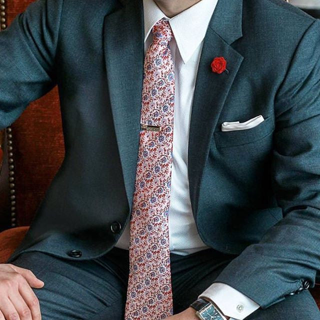 Cream & Red Floral Silk Tie