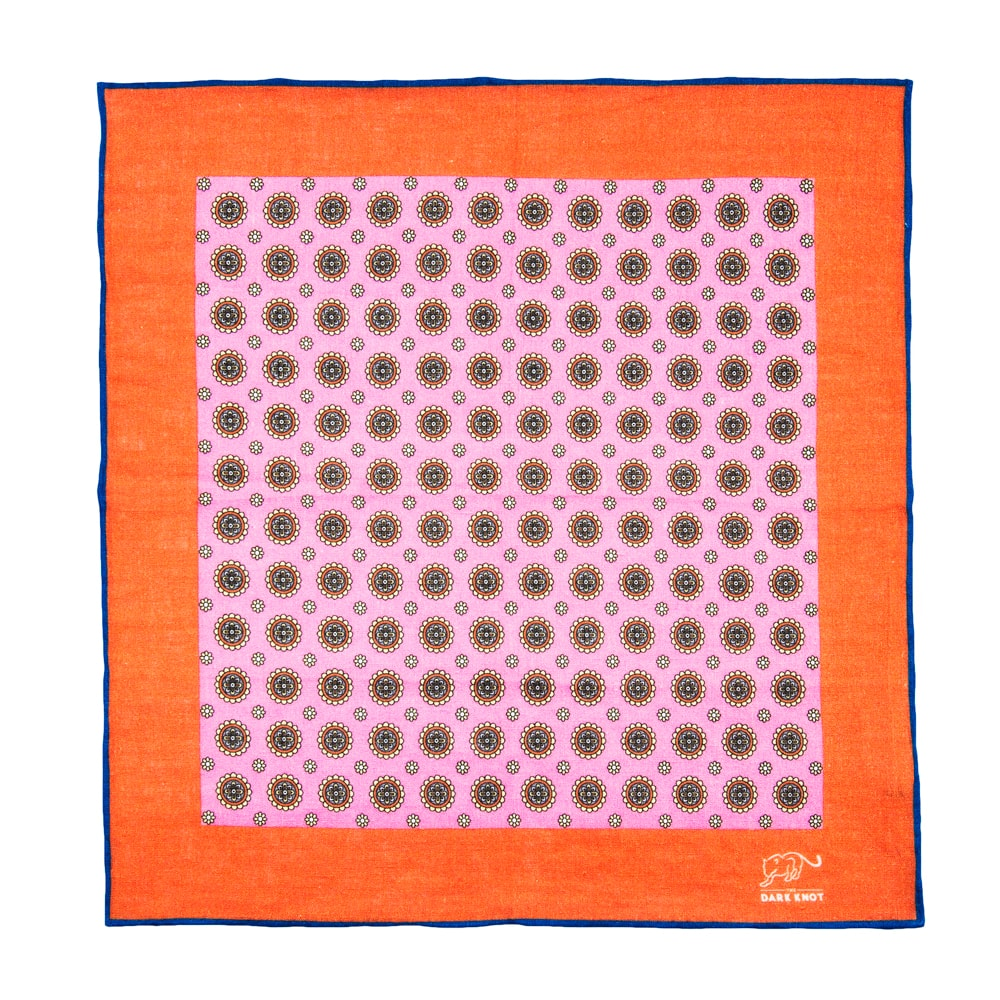 Pink & Burnt Orange Abstract Linen Pocket Square