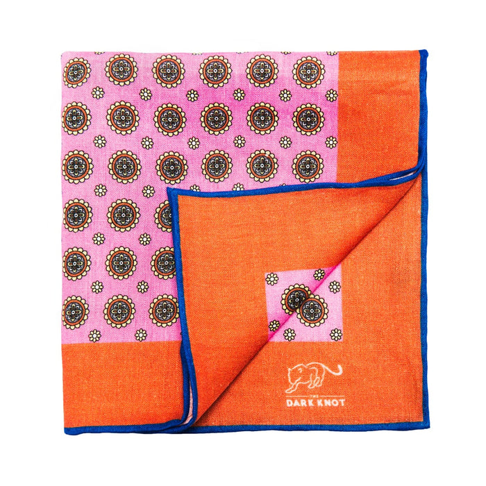 Pink & Burnt Orange Foulard Linen Pocket Square