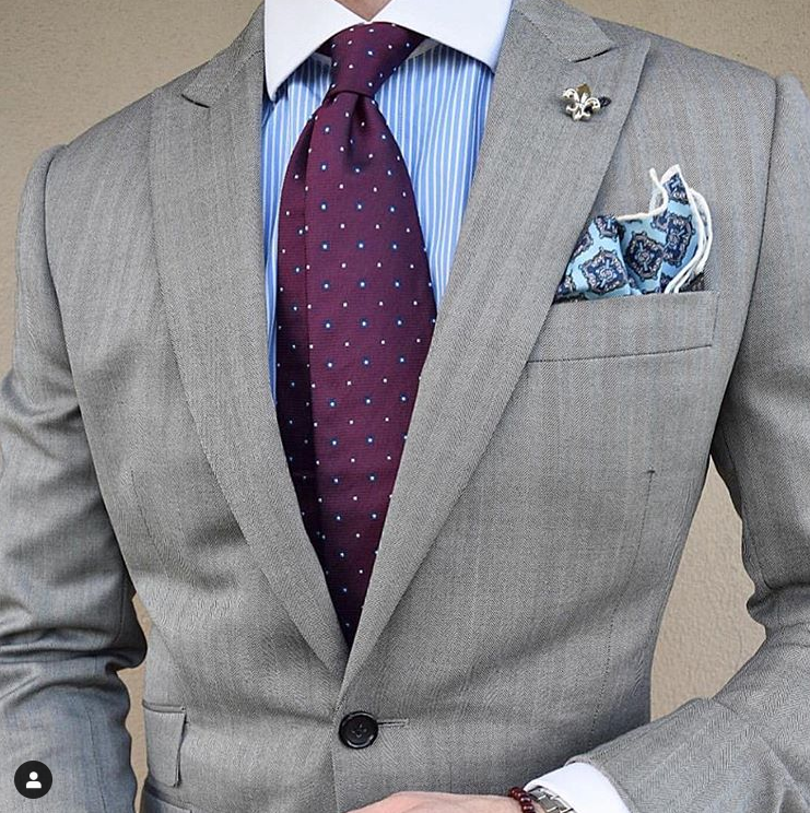 Purple Geometric Silk Tie