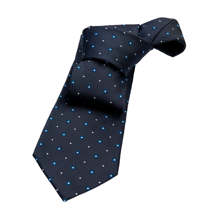 Grey & Blue Foulard Silk Tie
