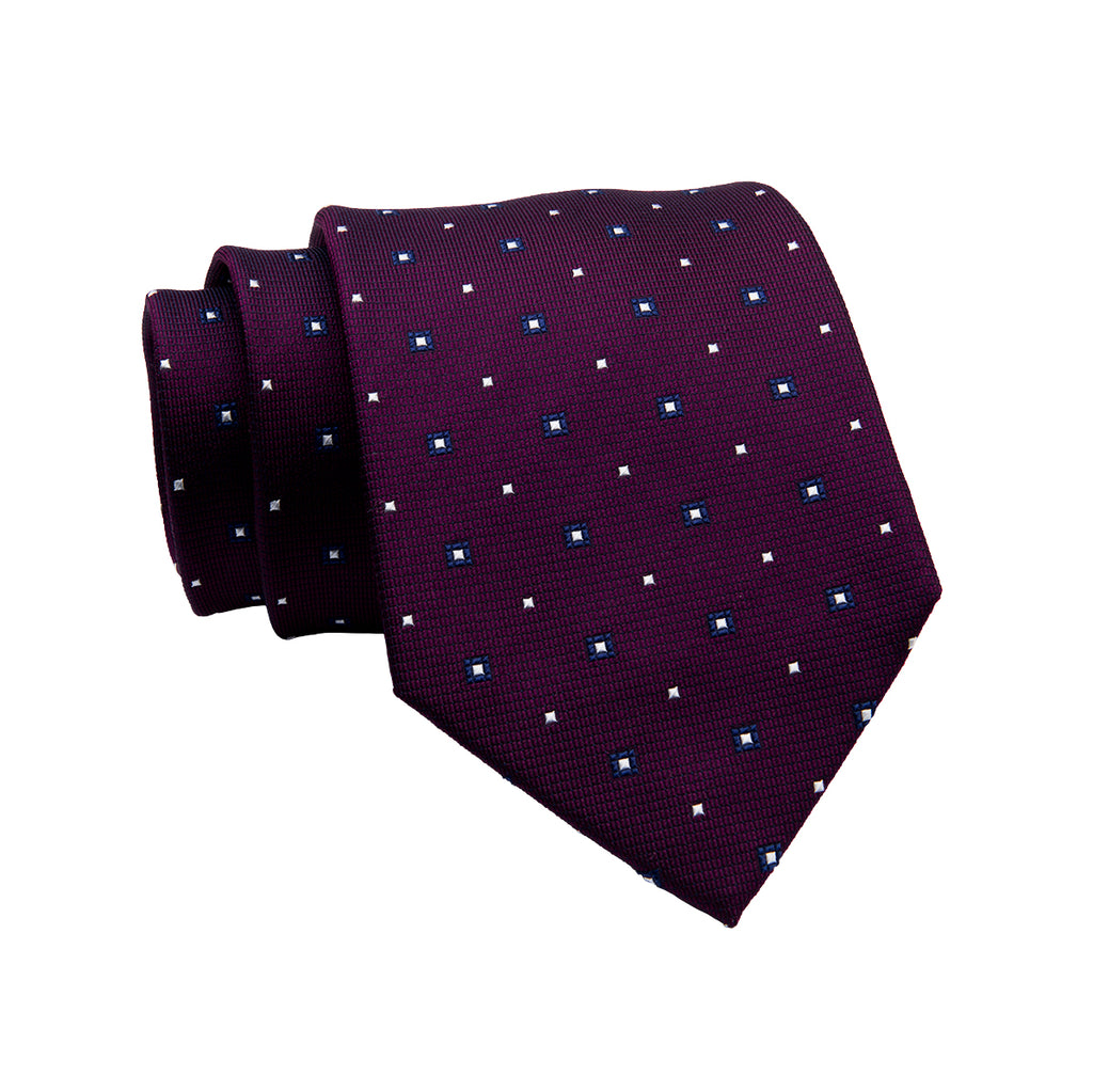 Purple & Navy Foulard Silk Tie