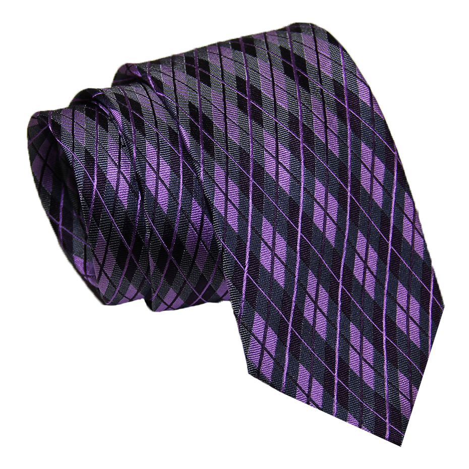 Lilac and Purple Plaid Silk Tie