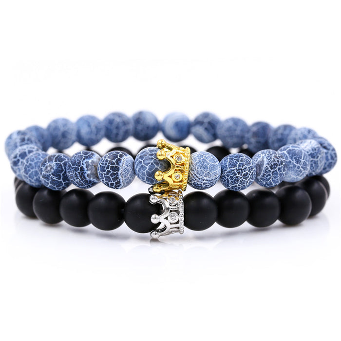 Santa Cruz Stackable Beaded Crown Bracelets, Grey Agate / Black