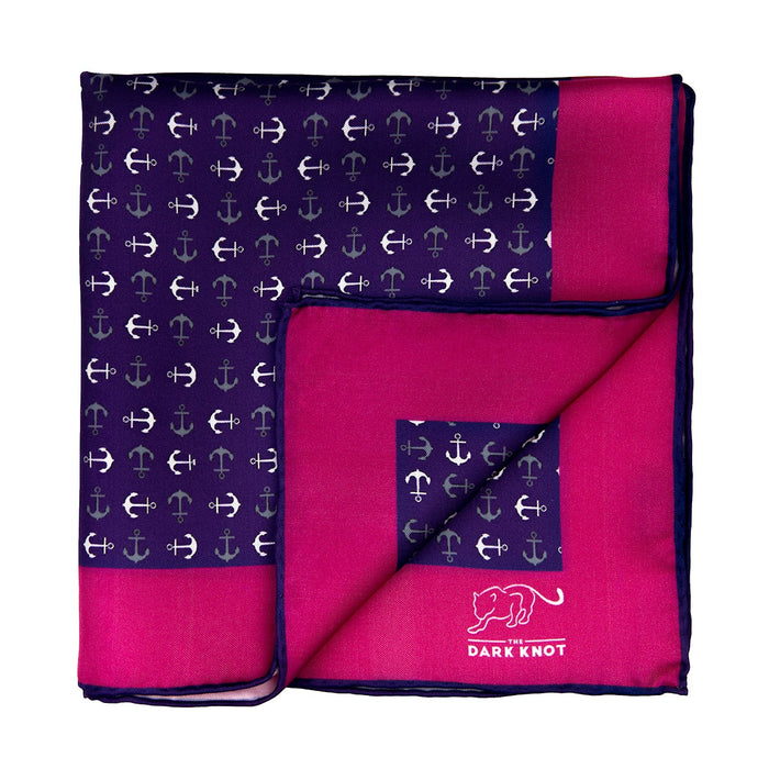 Purple, Grey & White Anchor Silk Pocket Square