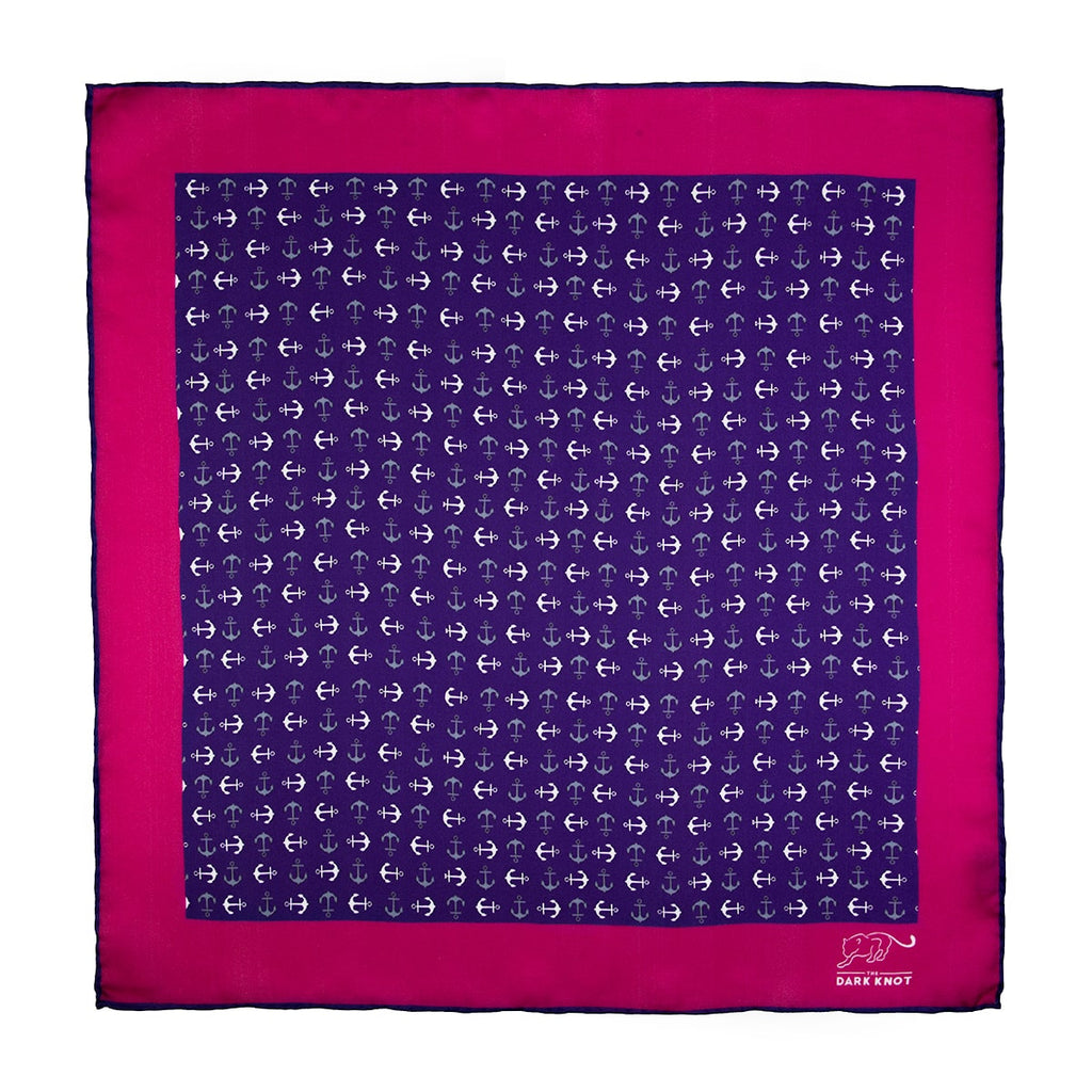 Purple, Grey & White Silk Pocket Square
