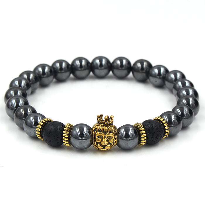 Black beaded bracelet with gold lion's head
