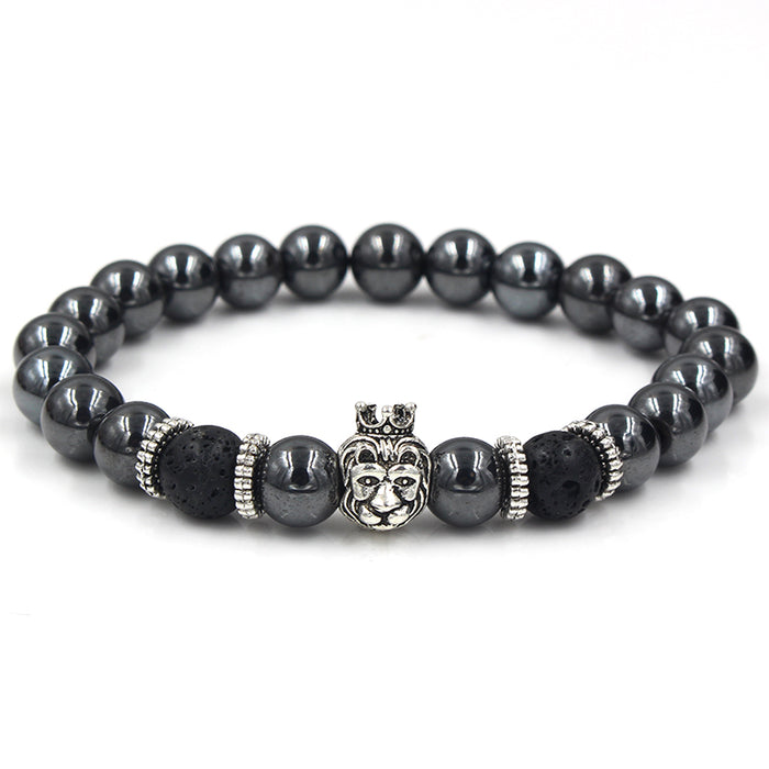 Black beaded bracelet with silver lion's head