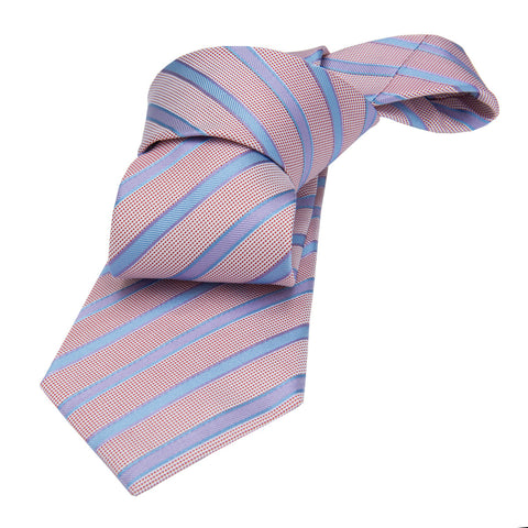 Pinkish Blue and Cream Striped Silk Tie