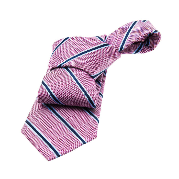 Pink and Navy Striped Silk Tie