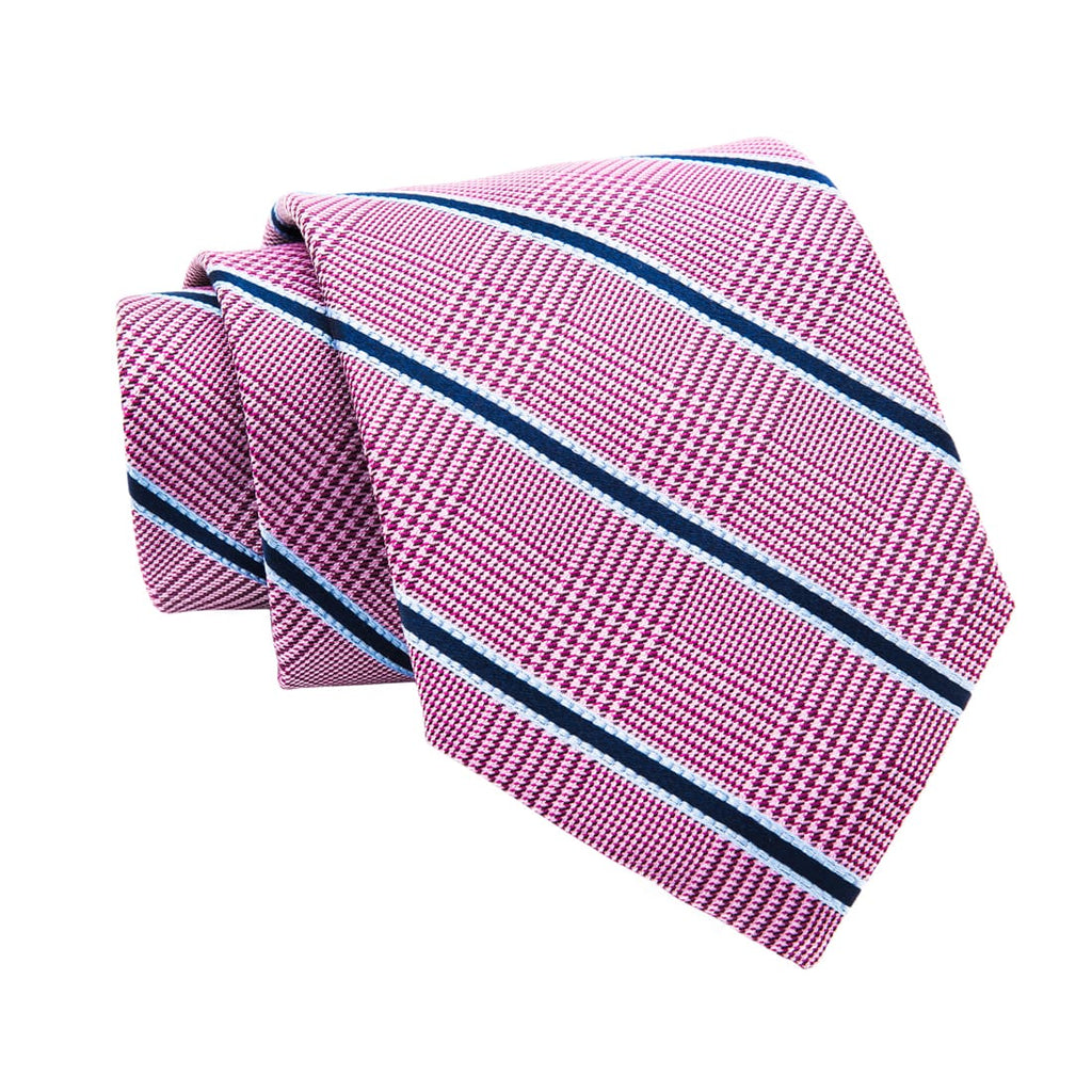 Pink & Navy Striped Silk Tie
