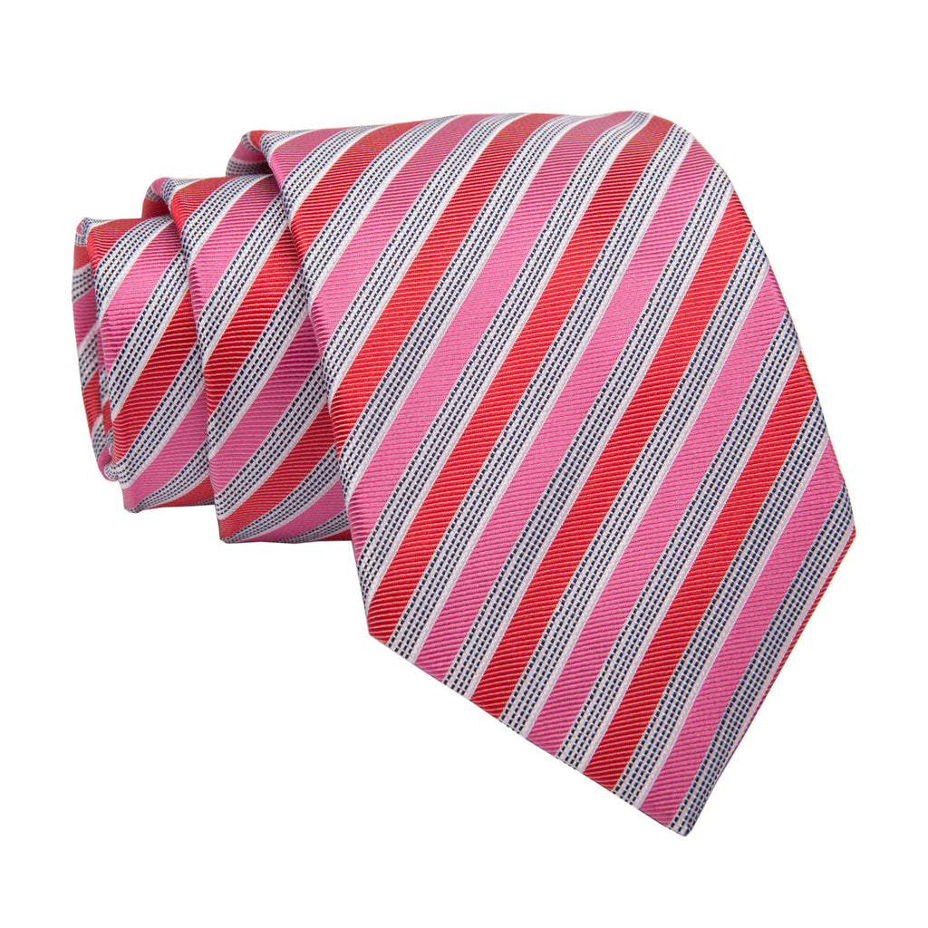 Pink, Red and Silver Striped Silk Tie