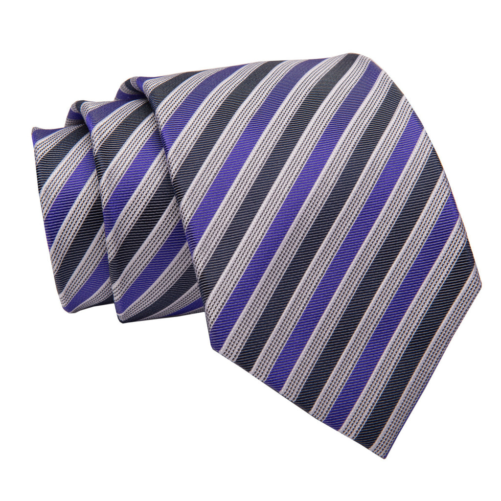 Purple and Navy Striped Silk Tie