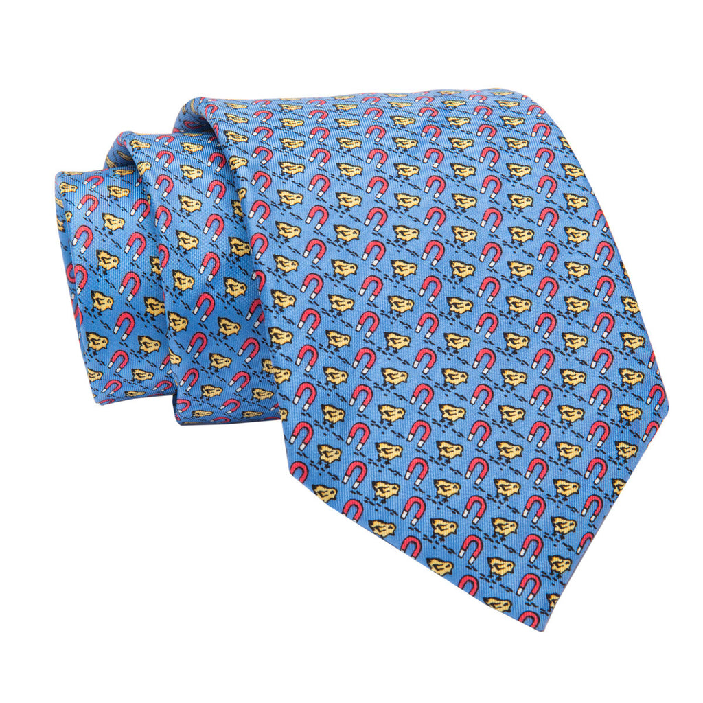 Blue and Yellow Printed Silk Tie