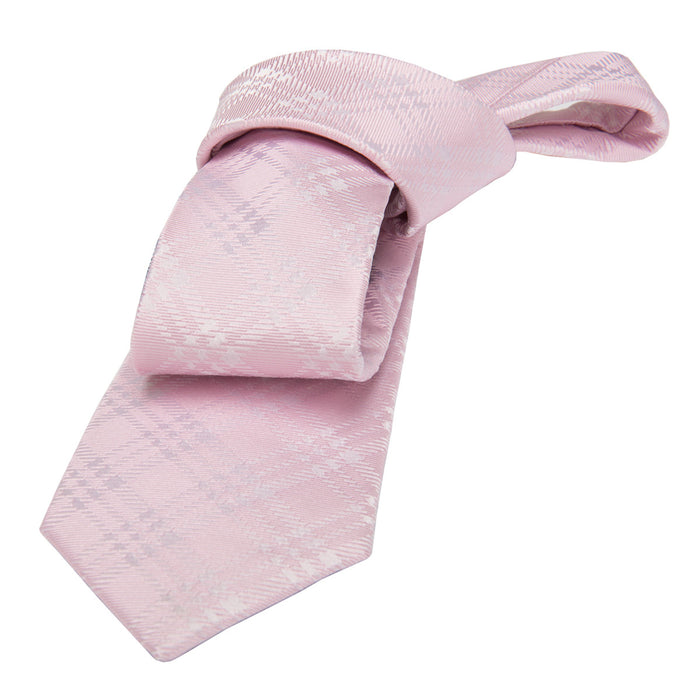 Pink Plaid Silk Tie