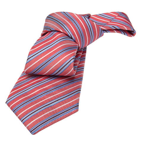 Red and Blue Striped Silk Tie