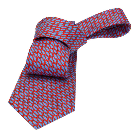 Red w/ Blue Fish Printed Silk Tie