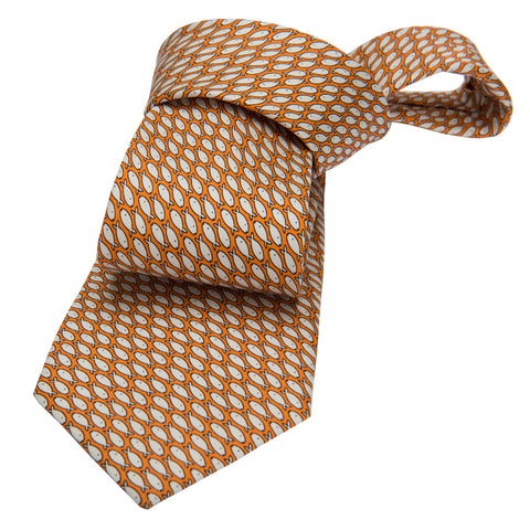 Orange & White Fish Printed Silk Tie