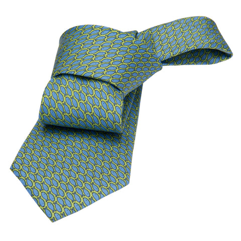 Green w/ Blue Fish Printed Silk Tie