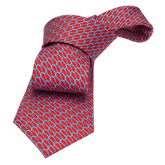 Blue with Red Fish Motif Printed Silk Tie