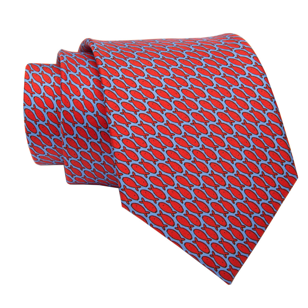 Blue w/ Red Fish Motif Printed Silk Tie