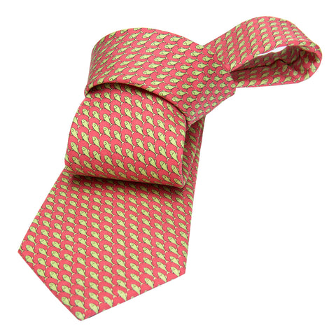 Pink w/ Green Fish Printed Silk Tie