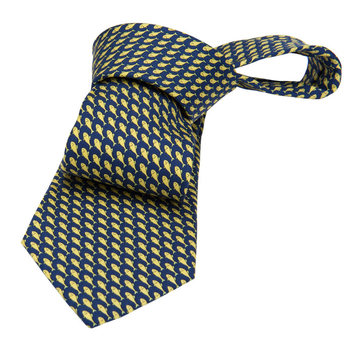 Navy and Yellow Printed Fish Silk Tie