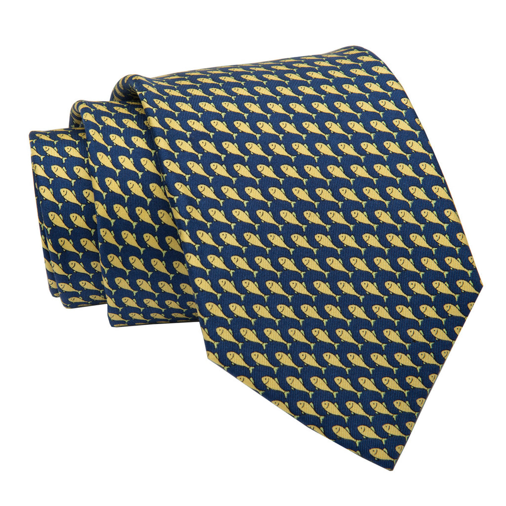 Navy and Yellow Fish Printed Silk Tie