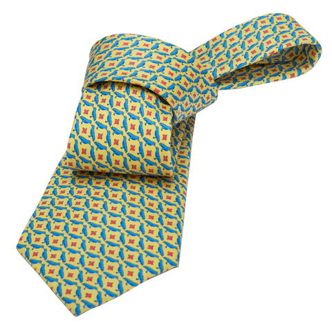 Yellow and Blue Printed Silk Tie