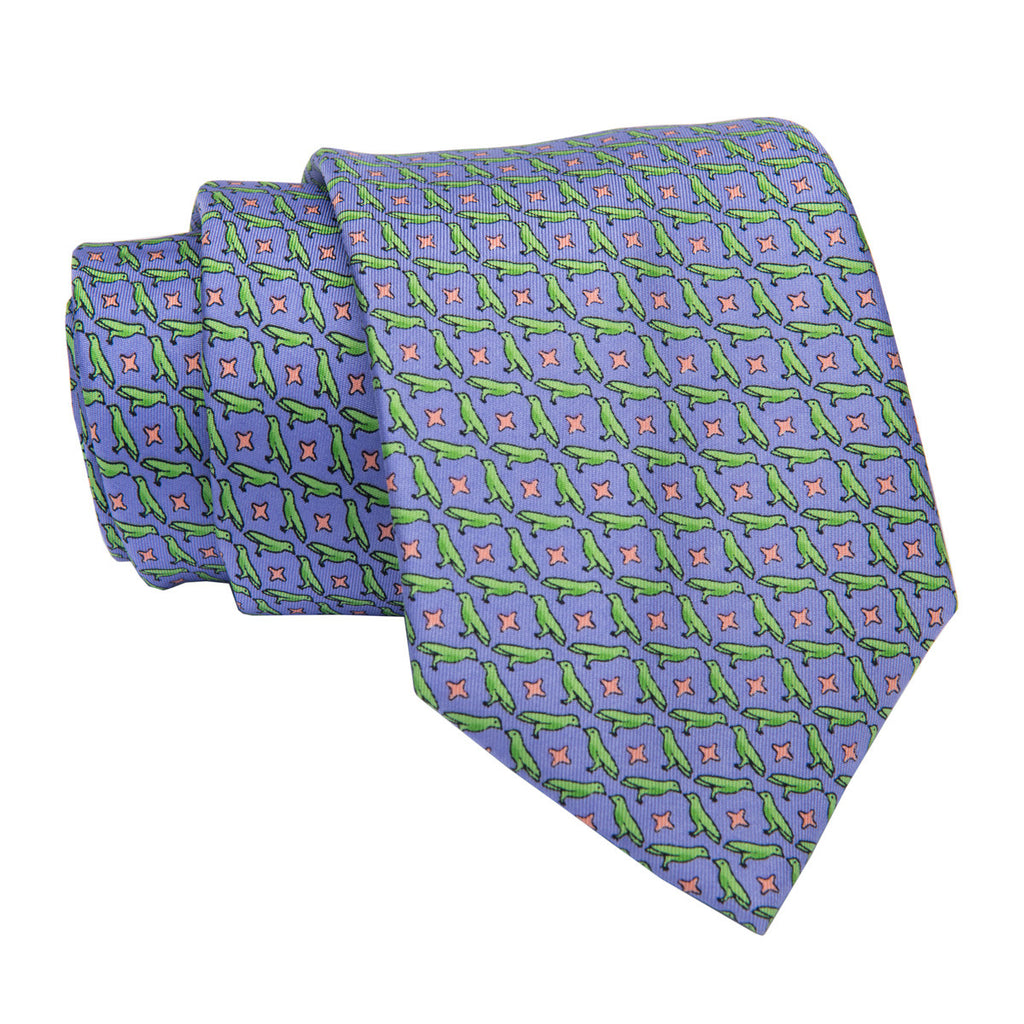 Purple and Green Printed Silk Tie