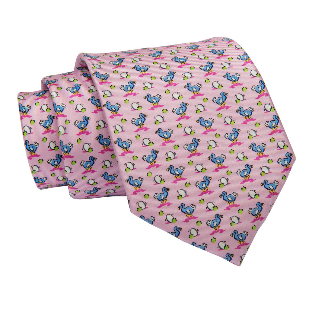 Pink Ducks w/ Egg Printed Silk Tie