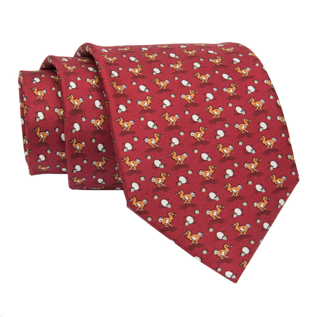 Burgundy Duck Motif Printed Silk Tie