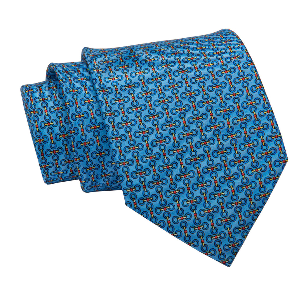 Blue Rings Printed Silk Tie