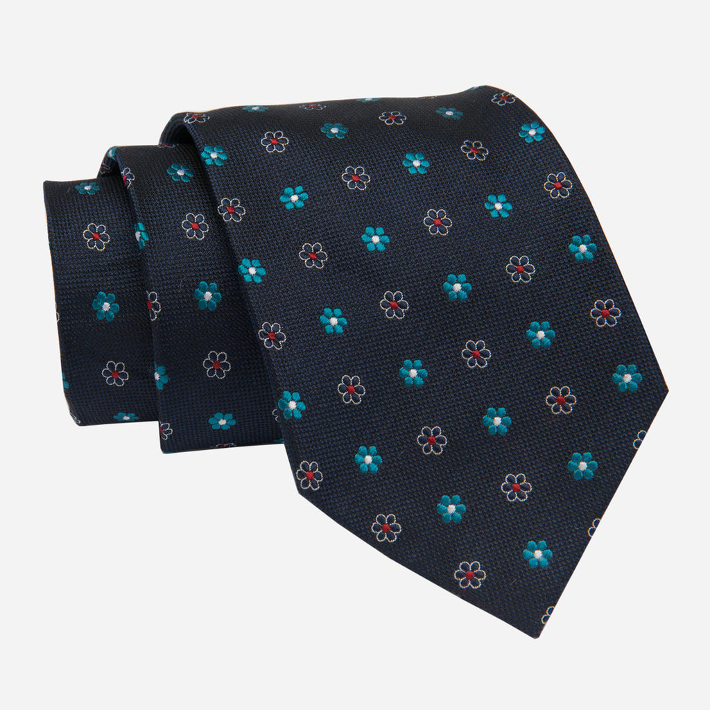 Navy with Turquoise Foulard Silk Tie