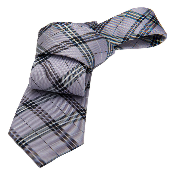 Plaid Lilac Silk Tie