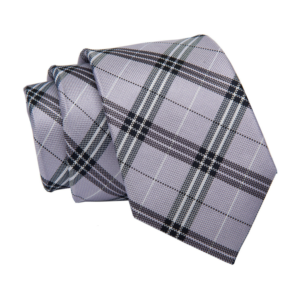 Lilac Plaid Silk Tie