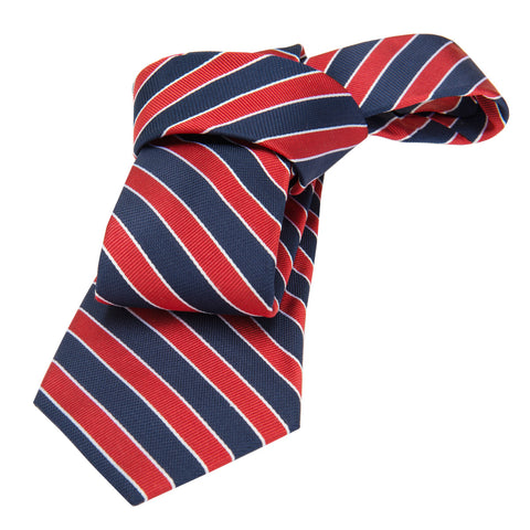 Navy w/ Red Striped Silk Tie