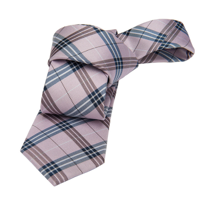 Pink w/ Bluish Grey Plaid Silk Tie