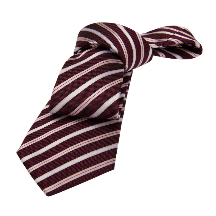 Burgundy, Pink and Silver Striped Silk Tie