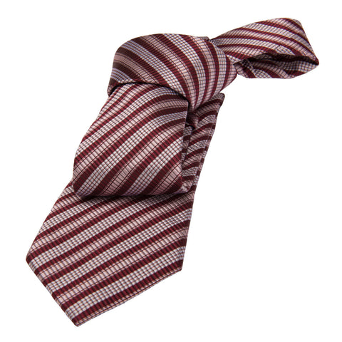 Burgundy and Cream Striped Silk Tie