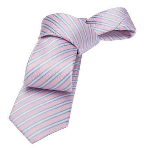 Pink Skinny Striped Silk Tie