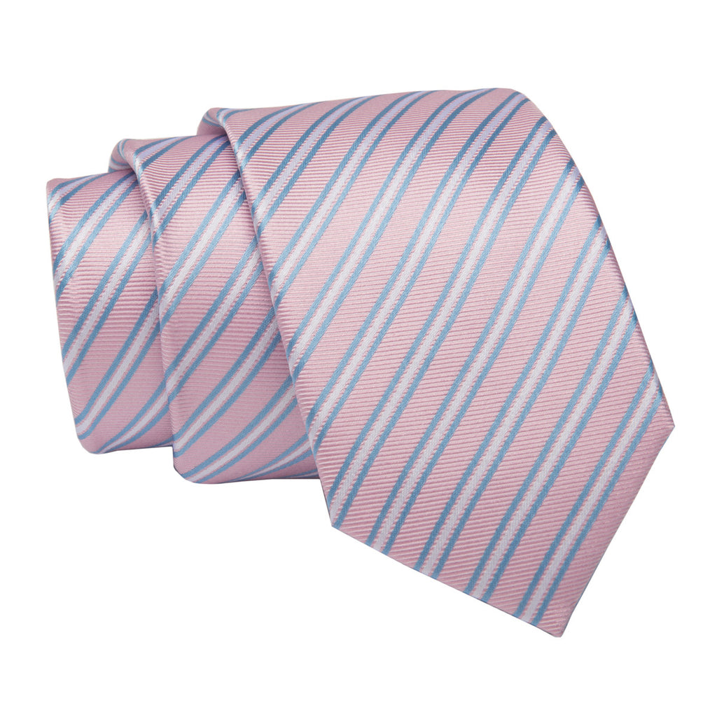Pink Striped Skinny Silk Tie