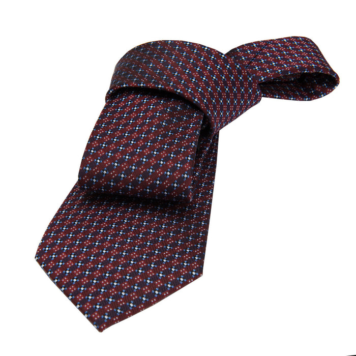 Burgundy and Blue Abstract Silk Tie