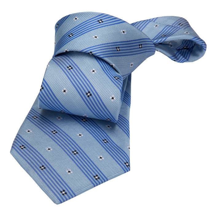 Blue Floral Striped Silk Tie