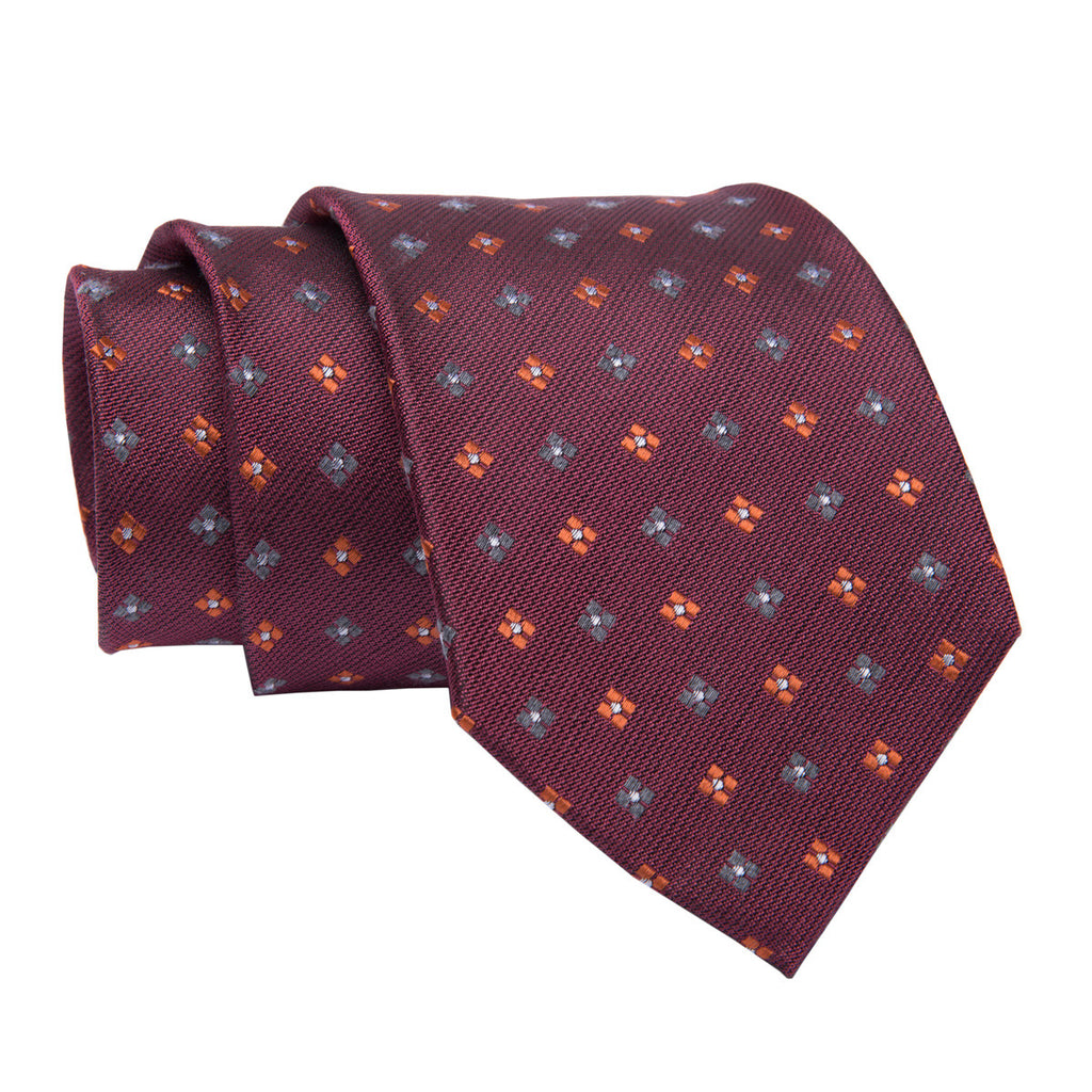 Burgundy Foulard Wool Silk Blend Tie
